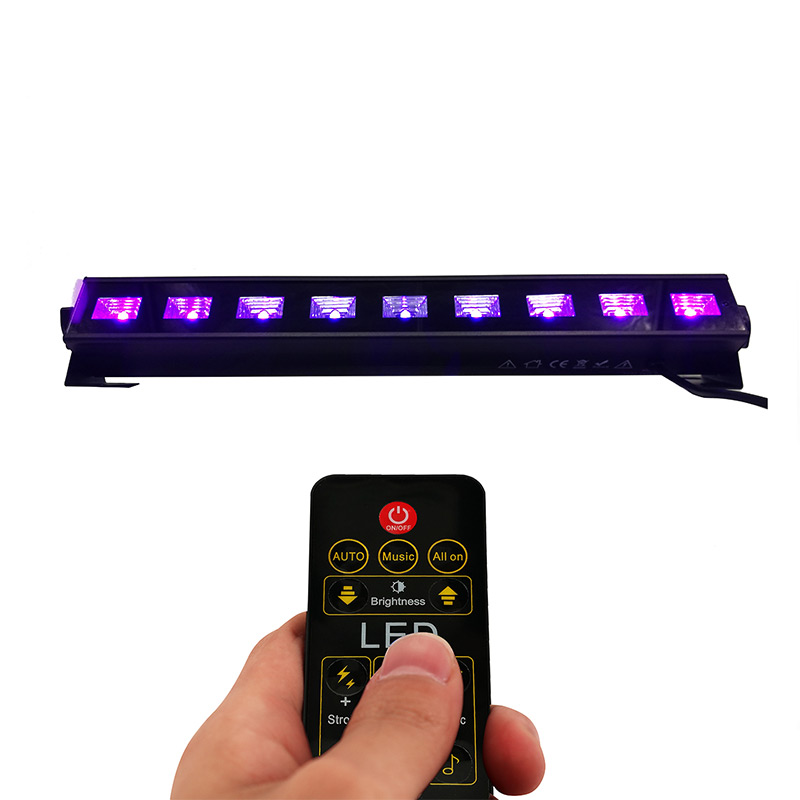 SHEHDS LED Wall Wash 9x3W Violet Lights Wireless Remote Control DMX512 UV Lighting Flood Washer Lamp Stage Lighting Effect