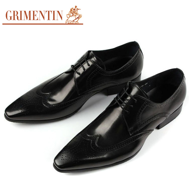 GRIMENTIN Brand Classic Mens Dress Shoes Black Brown Coffe Genuine Leather British Style Carved Wingtip Oxford size38-44 4N10