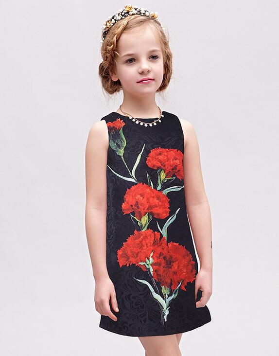 2017 New Girls carnations jacquard Vest Dress autumn winter princess party Dresses 3-12 years
