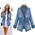 NUEVOS Modelos Estrella de La Moda la Old Wild Delgado Washed Denim Jacket Coat para Las Mujeres Chica CJ132