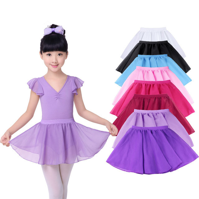 Chiffon Girls Tutu Ballet Leotards Kids Tutu Dancing Skirt Children Practice Ballet Leotard Dress Elastic Dance Wear For Girls