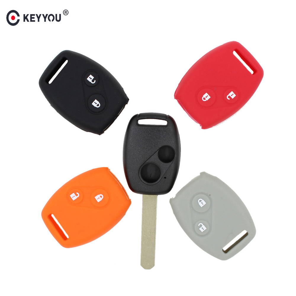 KEYYOU Silicone Car Key Fob Case Cover Set Shell Holder For Honda For Accord CRV Civic Fit Freed StepWGN Two 2 Buttons RemoteKEYYOU Silicone Car Key Fob Case Cover Set Shell Holder For Honda For Accord CRV Civic Fit Freed StepWGN Two 2 Buttons Remote