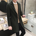 2016 Winter Mens Slim Fit Single Breasted Long Coat Pink Green Woolen Cloth Long Trench Casual Medium-long Outerwear Plus Size