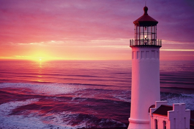 Cloud Lighthouse Ocean Pastel nature Sky Sunset living room home ...
