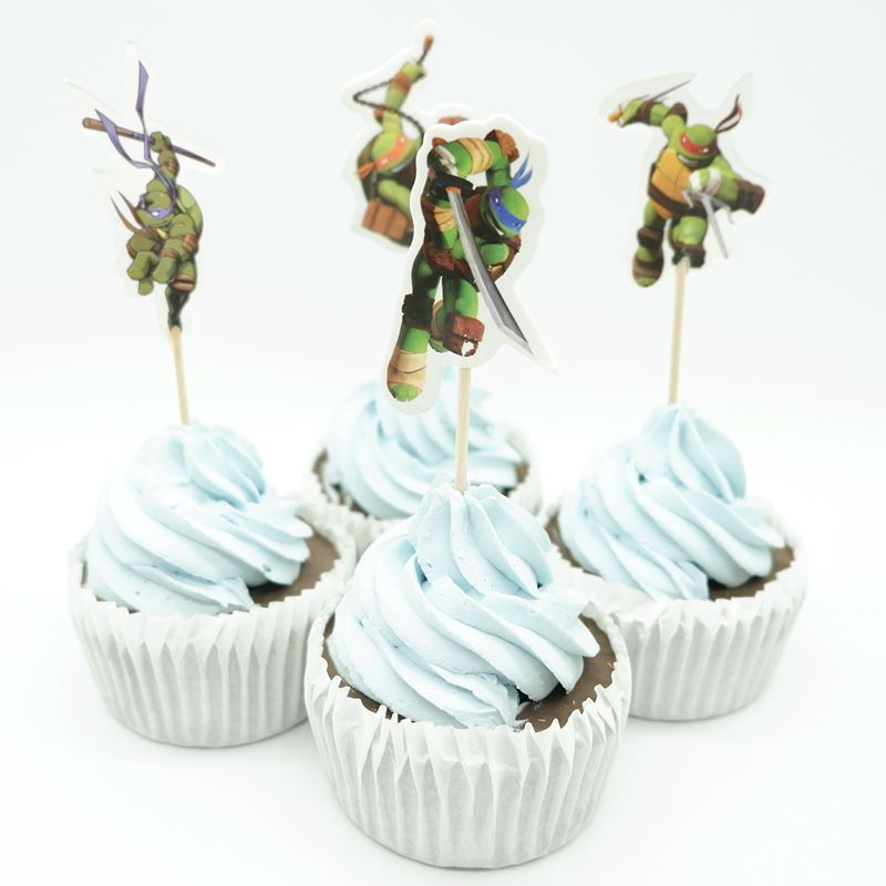 24P TMNT Turtle birthday boy Party Cupcake Cakes Decorating Toppers Picks Flags