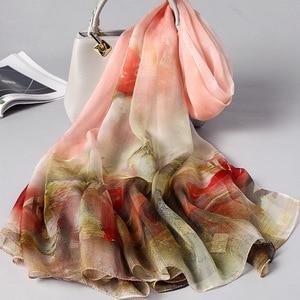 Image 2 - 2020 Silk Scarf Women 100% Real Silk Vintage Floral Brand Designer Shawls And Wraps Ladies Travel Pashmina Winter Neck Scarves