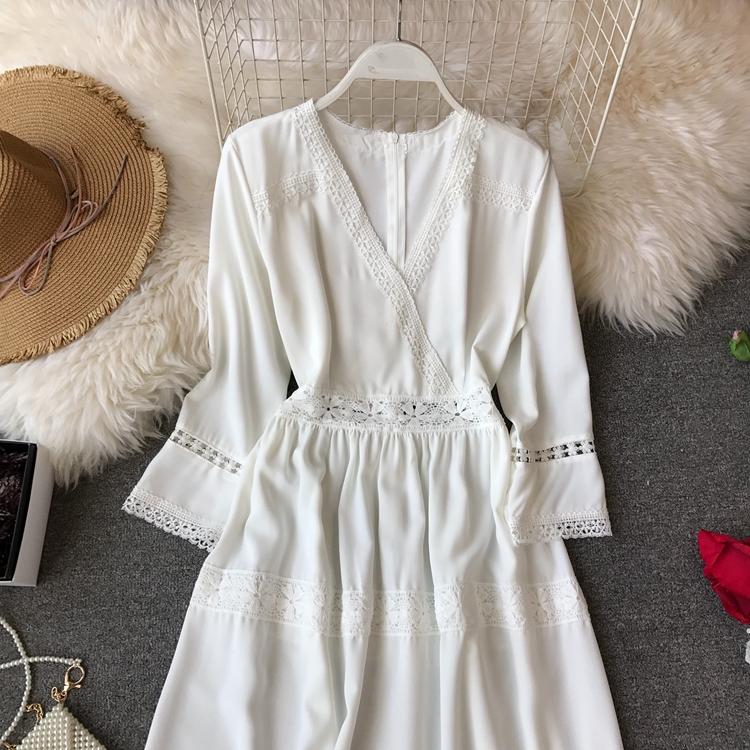 Women Bohemian Dress Lady Half Sleeve V Neck Red and White Beach Holiday Elegant Vestidos E152 28