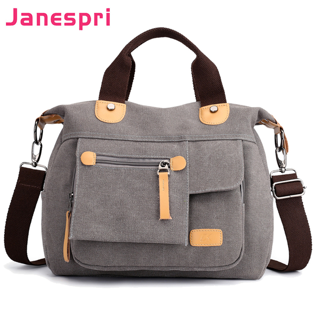 c43382d0d Janespri Women's Canvas Handbags High Quality Female Single Shoulder Bags  casual totes Vintage Multi-pocket Ladies Totes Bolsas