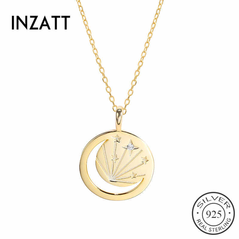 INZATT Real 925 Sterling Silver Hollow Moon Zircon Star Pendant Necklace For Charming Women Party Punk Necklace Fine Jewelry