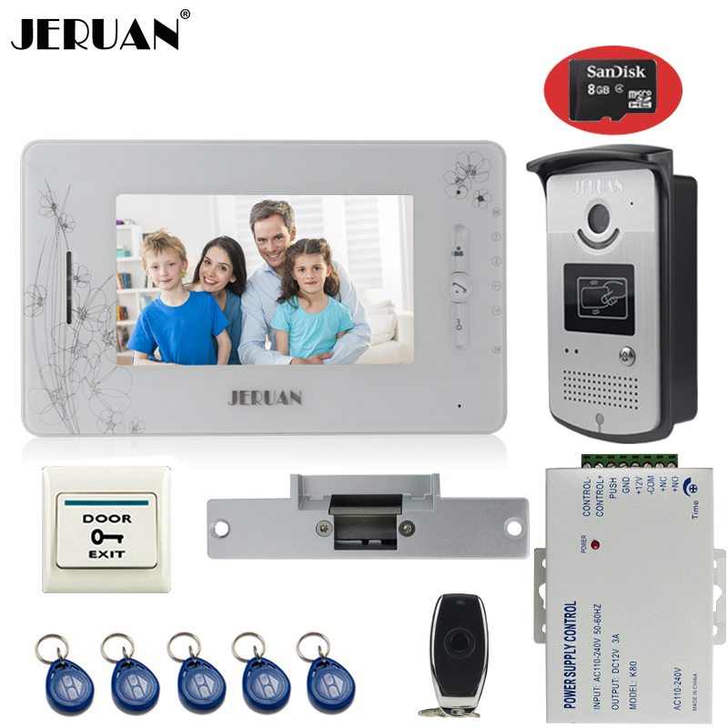 JERUAN 7``TFT color video door phone intercom system 700TVL new RFID Access IR Night Vision Camera+Cathode lock+8GB SD Card jeruan three 7 monitor color video door phone intercom 700tvl rfid access ir night vision camera electric mortise lock 8gb card