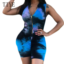 TIYE Sexy Zipper V Neck Hollow Out Bodycon Summer Romper Fashion Vintage Print Sleeveless Casual Jumpsuit  Night Club Playsuit