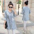 Новинка женщины куртка свободного покроя slim-подходят джинсовые пальто длинные дамы кардиганы изношен отверстие полный рукав Casaso Feminino большой размер 4XL