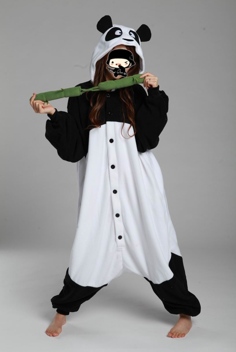 fleece newest cartoon black white kung fu panda animal pajamas adult unisex panda onesie halloween - Kung Fu Panda Halloween
