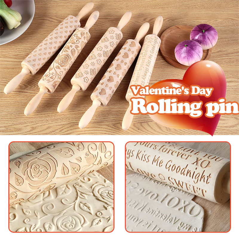 Valentine S Day Diy Love Embossing Rolling Pin Various Pattern Baking Cookies Noodle Biscuit Fondant Cake Dough Engraved Roller