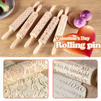 Valentine's Day DIY Love Embossing Rolling Pin Various pattern Baking Cookies Noodle Biscuit Fondant Cake Dough Engraved Roller
