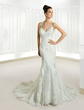 Top Quality Halter Appliqued Lace and Tulle Floor Length Mermaid Bride Dress 2015 Sexy Open Back Wedding Dress Bridal Gown tropical print open back halter top