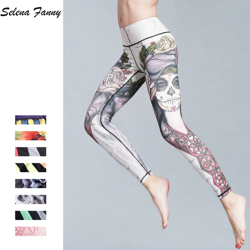 Beautiful Slim Print Quick Dry Yoga Pants Women Sport Leggings Fitness Yoga Tights Jogging Running Workout 11 Colors S-XL women s quick dry lycra pleated yoga trousers running pants leggings