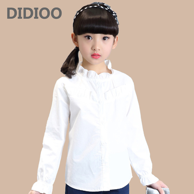 3f505e1ce الطلاب الأبيض بلوزات الفتيات الزي المدرسي زهرة طوق قمصان طويلة الأكمام 4 6  9 8 10
