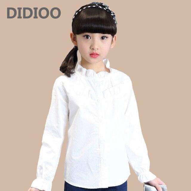 5940817e0a Estudiantes blusas blancas para niñas uniformes escolares Collar de flores  camisas de manga larga 4 6