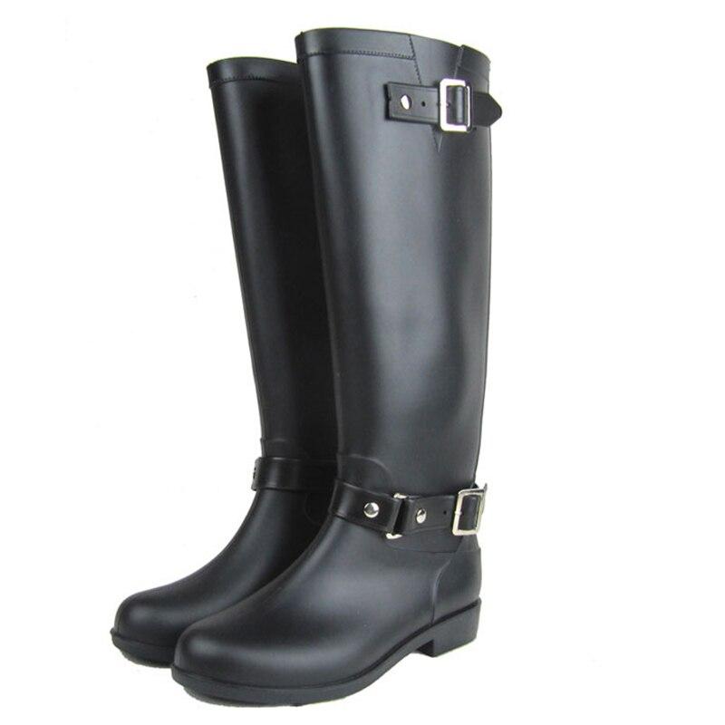 Kolenski visoki čevlji za dež z Zipper žensko Galoshes-3069