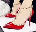 Nuevo 2016 de la marca sexy de Las Mujeres de La Bomba inferior Roja Tacones Altos Sandalia mujeres de Spike Punta estrecha con tacones delgados altos Zapatos de Vestido de Partido mujer