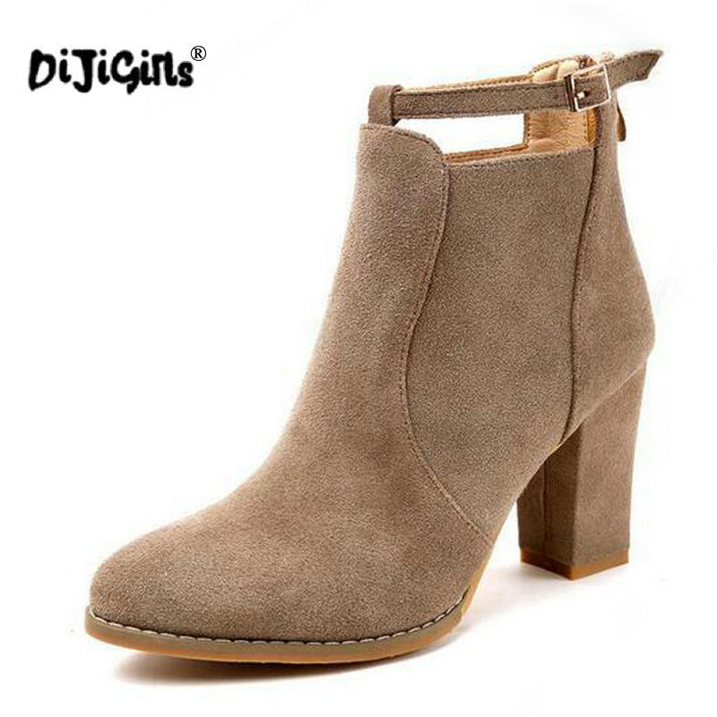 DIJIGIRLS New Autumn Winter Women ankle Boots Solid European High heel boots Ladies suede Leather Fashion Martin Boots
