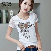 2017 Летняя мода с коротким рукавом рубашки новый Корейский стиль Тонкий печати бисера большой размер женщин в Футболку 873A 30