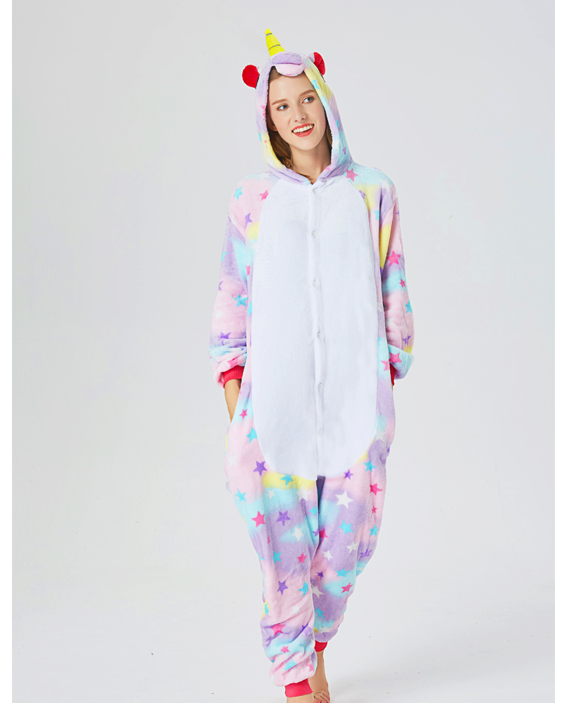 Adults Animal Pajamas Sets Cartoon Sleepwear Cosplay Zipper Women Men Winter Unisex Flannel Panda Unicorn Pajamas