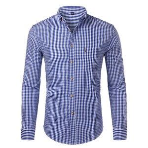Image 4 - Męskie kratki bawełniane Casual Slim Fit z długim rękawem w całości zapinana na guziki ubranie koszule 2018 moda męska praca marka biznesowa koszula koszulka Homme