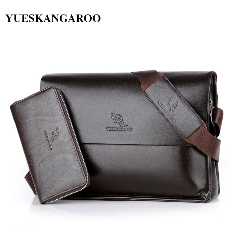 YUES KANGAROO Brand Vintage Messenger Bags Leather Large Capacity Men Crossbody Bag Business Man's Shoulder Handbags Briefcase yues kangaroo brand men bag leather casual high quality shoulder crossbody bags classical business briefcase mens messenger bag