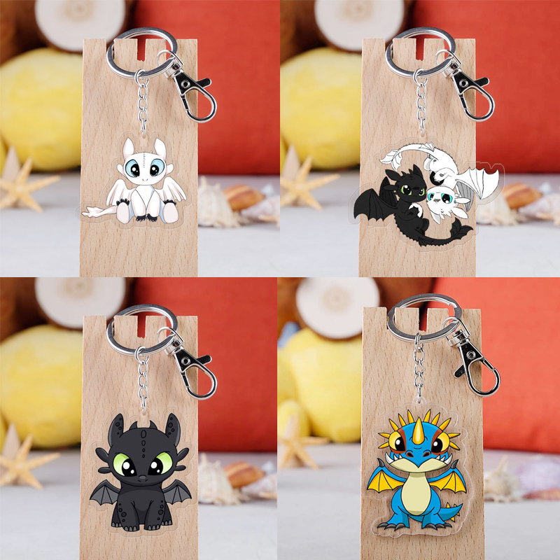 Cartoon How To Train Your Dragon Keychain Cosplay Props Acrylic Toothless Night Fury Light Fury Car Key Ring Unisex Accessories