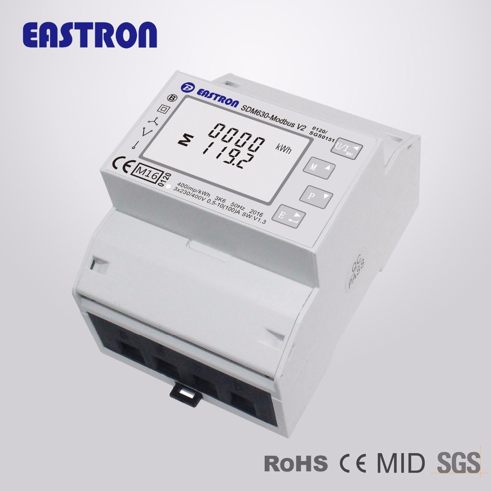 SDM630 Modbus V2 MID, multi-function power analyser, 1p2w 3p3w 3p4w, modbus/pulse output port RS485, PV solar system available(China)