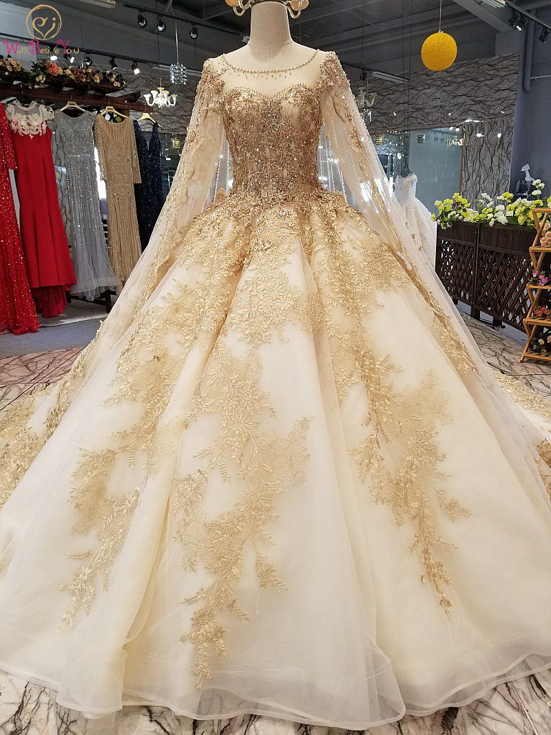 100% Real Photo Champagne Wedding Dresses Lace Appliques Tulle Beaded Crystal Vestito Da Sposa Ball Gown Sheer Neck Long Sleeve