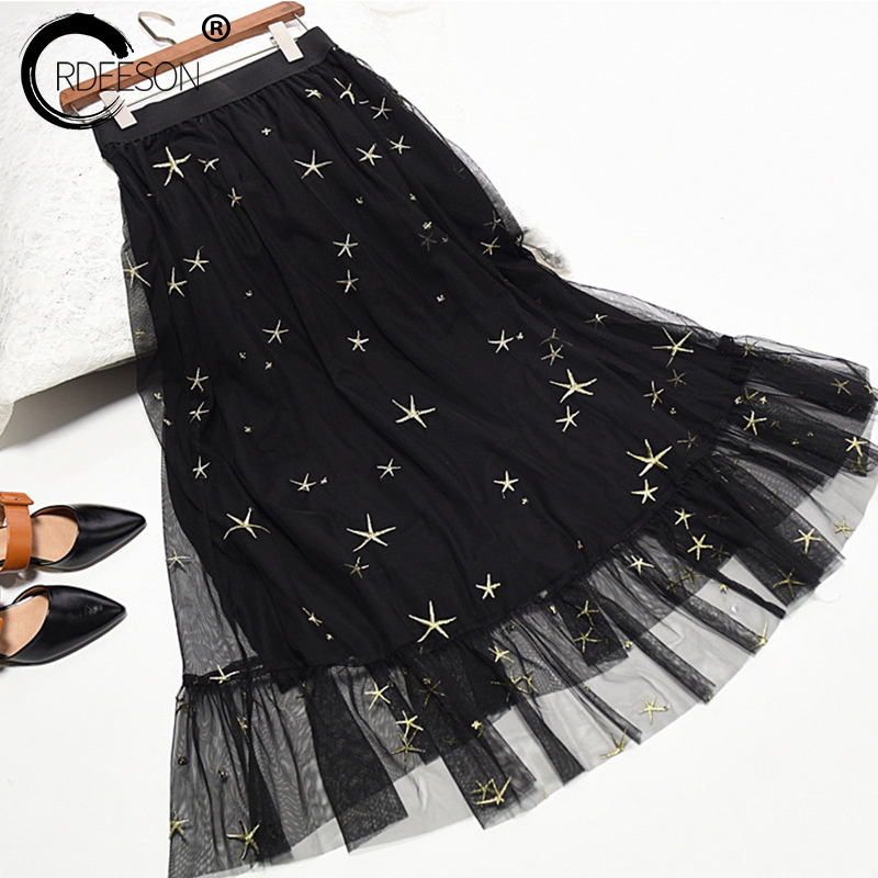 ORDEESON 90CM Midi Elastic Waist Gold Star Embroidery Black Tulle Skirt Long Skirt Winter A Line Fall Tutu Skirts Womens Autumn