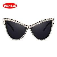 Winla Fashion Design Women Sun Glasses Rhinestone Cat Eye Sunglasses Classic Shades Vintage Gafas Oculos De