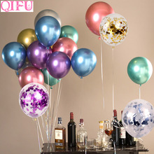QIFU Happy Birthday Balloons Decor Kids Floating Desk Stand Wedding Decoration Table Baloon Supplies Holder Ballons Accessories
