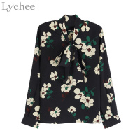 Chic Spring Women Blouse Flower Printed Halter V Neck Chiffon Casual Loose Long Sleeve Shirt
