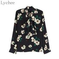 Chic Spring Women Blouse Flower Printed Halter V Neck Chiffon Casual Loose Long Sleeve Shirt