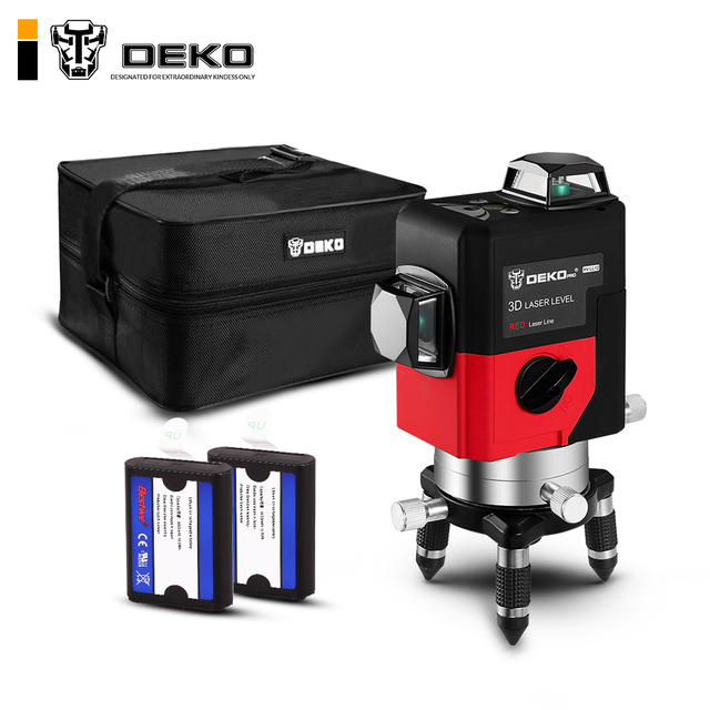 DEKO LL12-HV 12Lines 3D Laser Level Self-Leveling 360 degre Horizontal & Vertical Cross Powerful Outdoor can use Detector