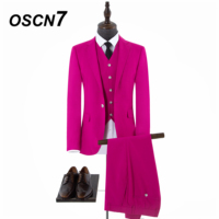 OSCN7 плотная красный жениха свадебный Индивидуальные костюмы 3 шт. мужской костюм 2018 новый простой свадебный костюм Для мужчин брендовая оде