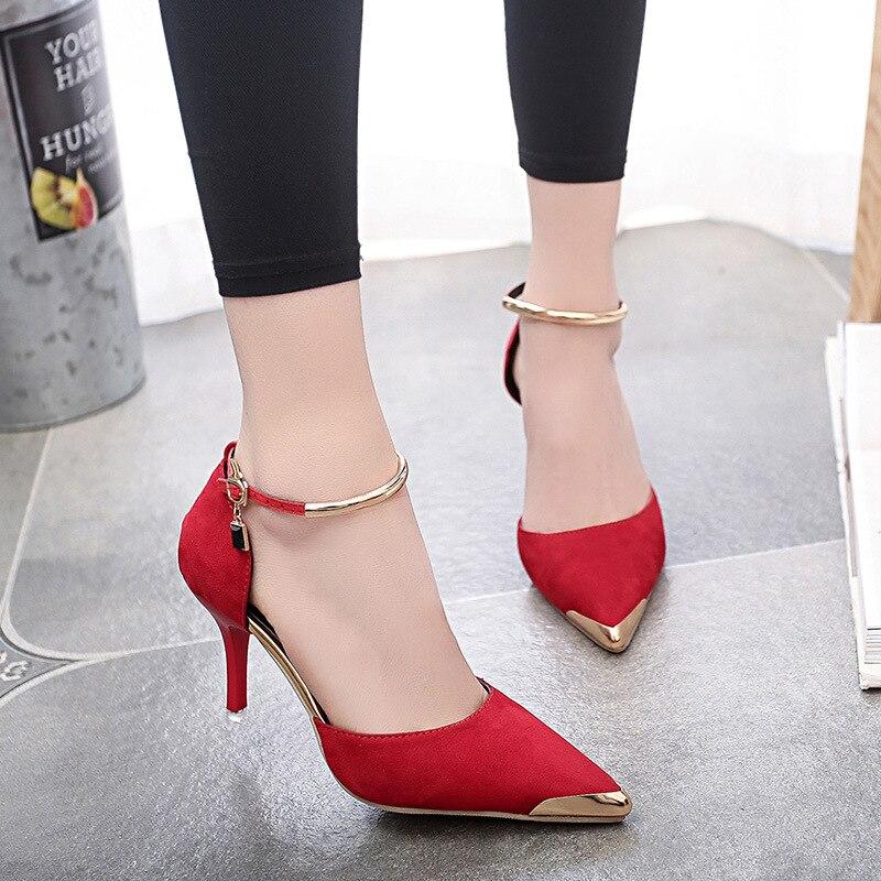 2018 Peu D'été Bouche Pointu Nouveau Et Talons Mode Printemps Chaussures Hauts De gris Fine Noir Avec Profonde rouge Des Femmes wYpqErw