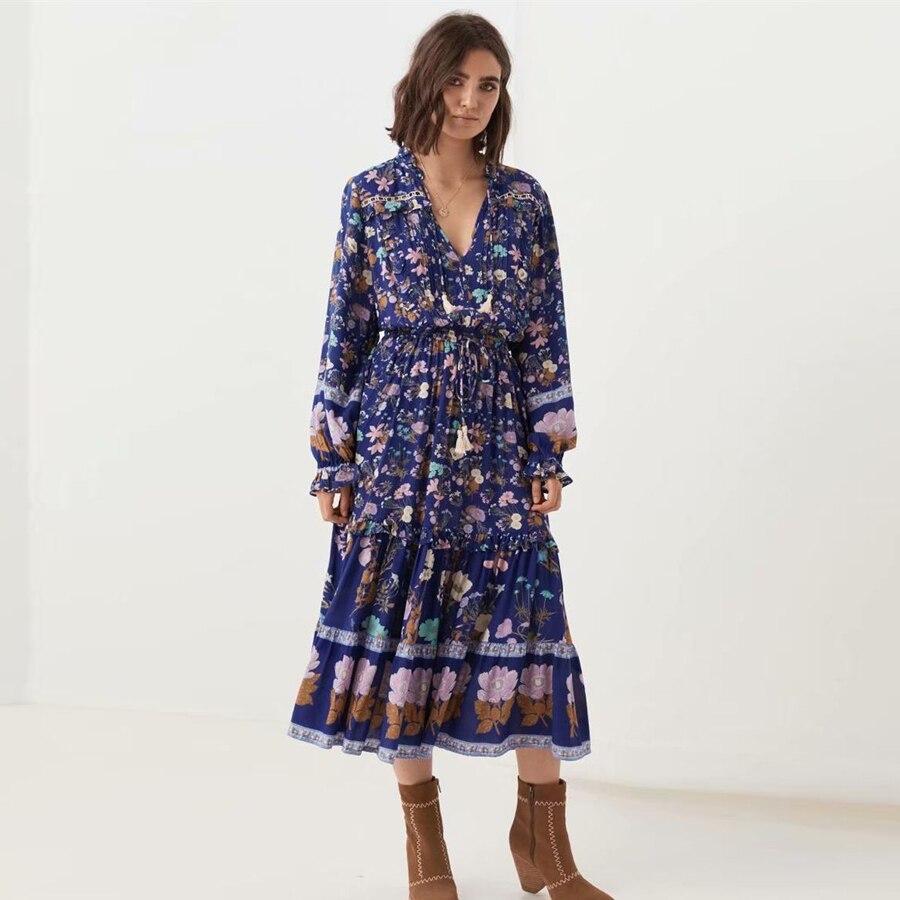 FP KIYUMI robe femmes rayonne robe d'été imprimé Floral manches longues volants gland à lacets 2019 Boho plage jaune Maix robes nouveau
