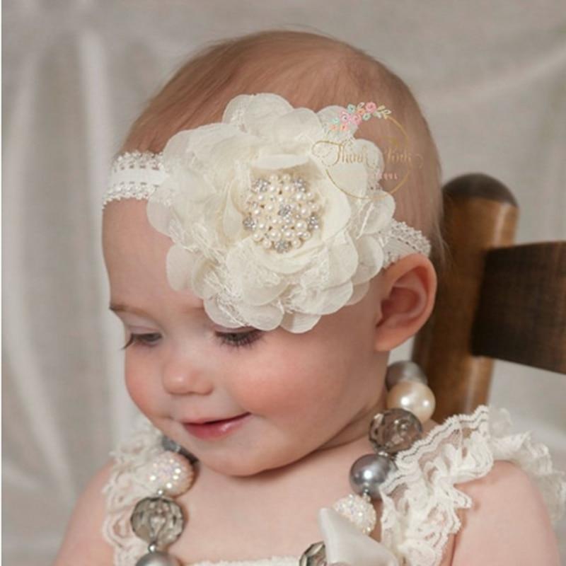 Fashion Children Infant Chiffon Flower Diamond Photography Hair Band Head Cute Kids Newborn Baby Girls Accessories Headbands