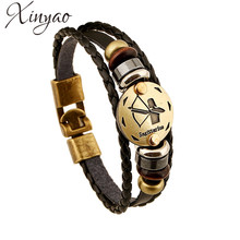 XINYAO 12 Constellation Scorpio Virgo Libra Aries Zodiac Taurus Bracelets Men Women Geniune Braided Leather Bracelet Men Jewelry