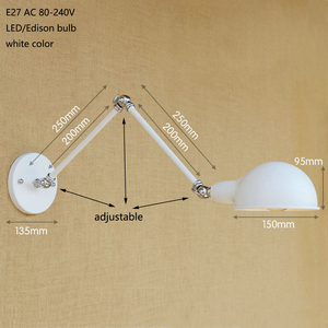 Image 3 - Loft Long Swing arm Industrial Brass adjust Wall Lamp sconce E27 wall lights for bedroom Bathroom Vanity Lights porch lighting