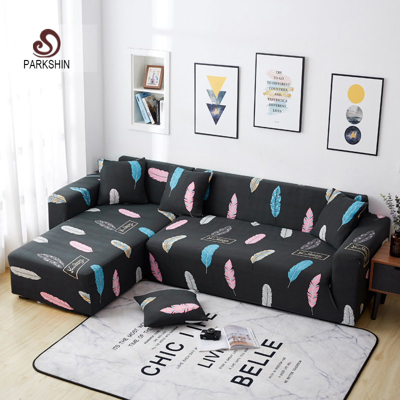 Parkshin Feather Slipcover Stretch Sofa Covers Furniture Protector Polyester Loveseat Couch Cover Sofa Towel 1/2/3/4 seater-in Sofa Cover from Home & Garden