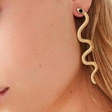 Модные Преувеличенные длинные серпантиновые серьги-гвоздики с кисточкой в виде змеи, серьги с полудрагоценным камнем для женщин, ювелирное изделие, подарок