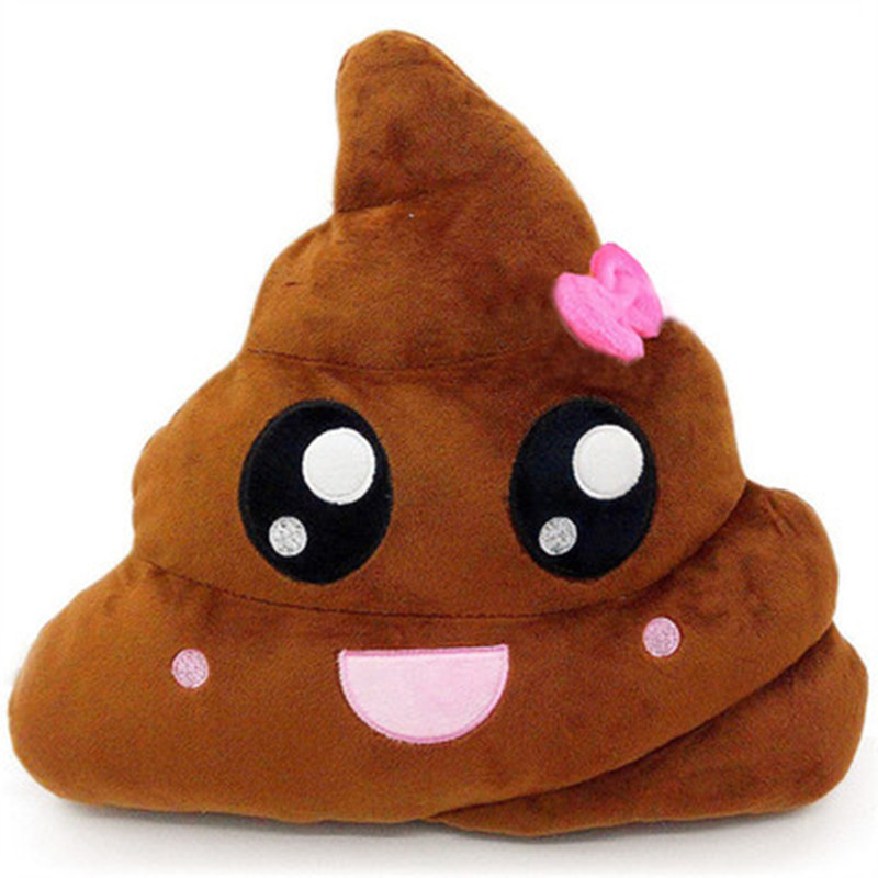 [Bainily]New double sided color printing qq poo emoji expression pillow colorful dung bucket toilet plush toy