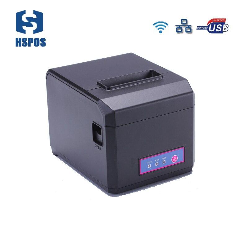 Rapide 300 mm/s impression Wifi LAN USB Bluetooth POS 80mm imprimante de reçu thermique avec coupeur automatique prise en charge Android Windows impression