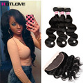 8A Peruvian Virgin Hair With Lace Frontal Closure 13x4 full Lace Closure Ear To Ear With 3 Bundles Body Wave Frontal With Bundle